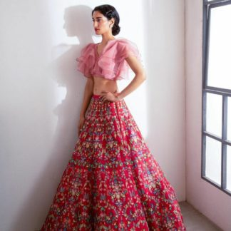 Pretty Pink Organza Satin Banglori Embroidered Diamond Work Lehenga Choli Design Online