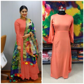 Glorious Marvellous Peach Rayon Party Wear Long Frock Gown Dress