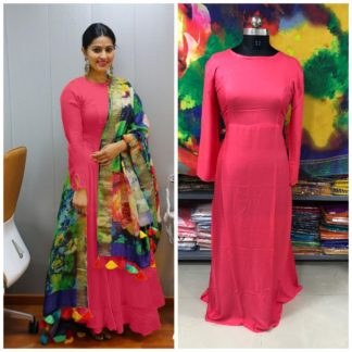 Charming Pink Rayon Long Frock Gown Dress