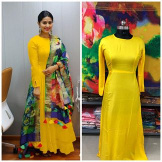 Alluring Yellow Rayon Long Frock Gown Dress