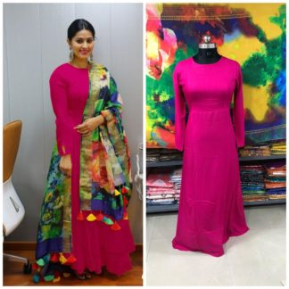 Exquisite Dark Pink Colored Rayon Plain Long Frock Gown Dress