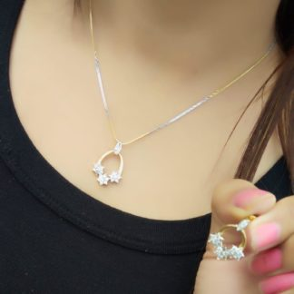 Good-Looking White Diamond Gold Plated Artificial Necklace Design Set