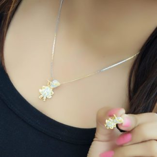 Striking White Diamond Gold Plated Artificial Necklace Design Set
