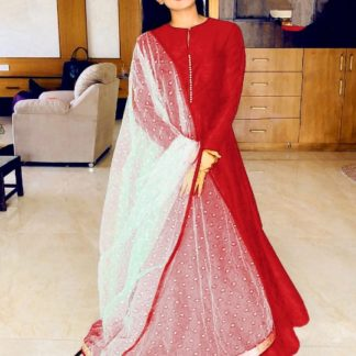 Sensational Red Banglori Silk With Lining Gown