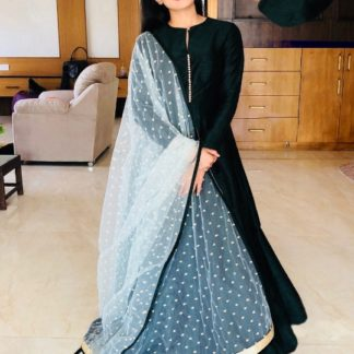 Radiant Black Banglori Silk With Lining Gown