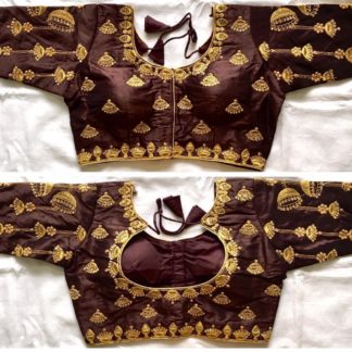 Pretty Chocolate Colored Thread Coding Hand Work Ready Made Blouse