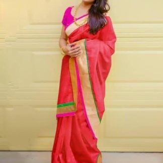 Lovely Majesty Red Colored Chanderi Silk Plain Saree