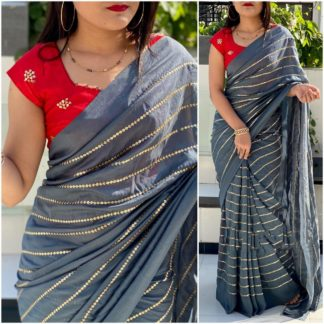Outstanding Red & Grey Georgette With Embroidered Work Saree