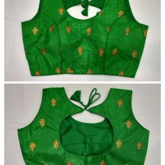 Lovely Green Fantam With Ready Made Golden Work Blouse