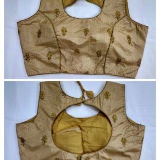 Good-Looking Golden Colored Fantam With Ready Made Golden Work Blouse