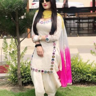 Sensational Off White Georgette With Embroidered Work Plazo & Kurti