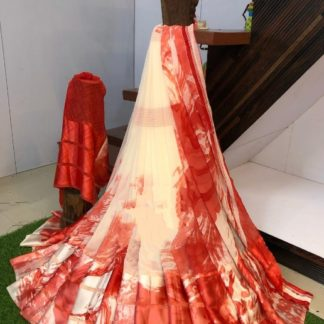 Radiant Cream & Red Sartin Patta Border With Digital Printed Designer Saree Online