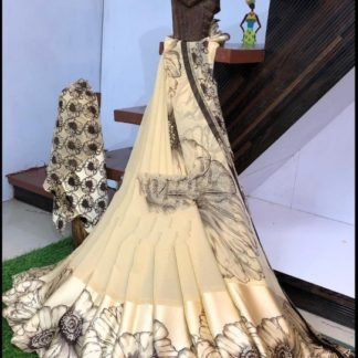Ravishing Cream Sartin Patta Border With Digital Printed Designer Saree Online