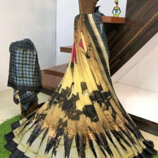 Striking Yellow & Black Geometrical Digital Printed With Sartin Patta Designer Saree Online