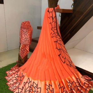 Dazzling Orange Sartin Patta Border With Digital Printed Designer Saree Online
