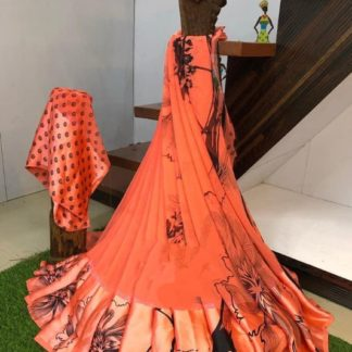 Captivating Orange & Black Digital Printed Sartin Patta Border Designer Saree Online