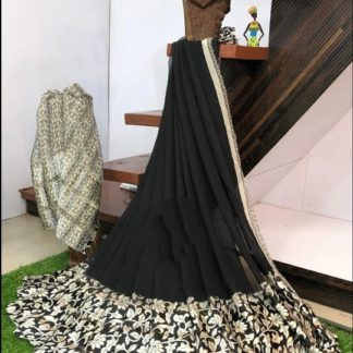 Bewitching Black Digital Printed Sartin Patta Border Designer Saree Online