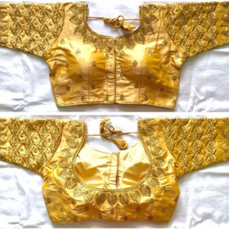 Gorgeous Golden Silk With Thread Work Ready Made Blouse