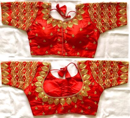 Knockout Red Silk With Thread Work Ready Made Blouse