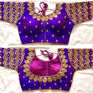 Beauteous Purple Silk With Thread Work Ready Made Blouse