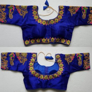 Extraordinary Royal Blue Silk With Thread Work Ready Made Blouse