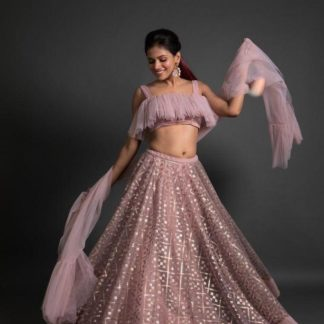 Gorgeous Baby Pink Net With Embroidered Work Lehenga Choli Design Online