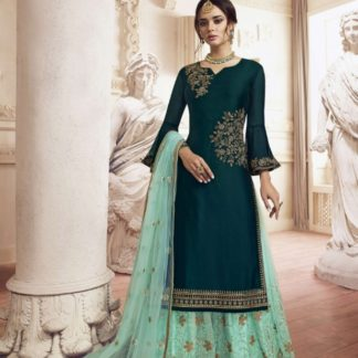 Mind-Blowing Rama Colored Rangoli With Embroidered Work Plazo Salwar Suit