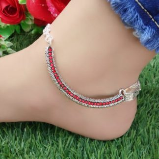 Pretty Red American Diamond Silver Imitation Anklet Set Online