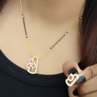 Magnificent White & Pink Diamond Golden Colored Artificial Mangalsutra Set Online