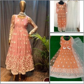 Imposing Peach Net Chine Stitch Work Full Stitched Party Wear Gown