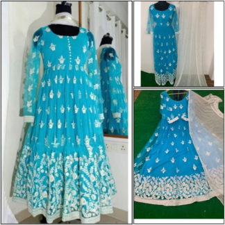 Mind-Boggling Sky Blue Net With Chine Stitch Work Ready Made Party Wear Gown