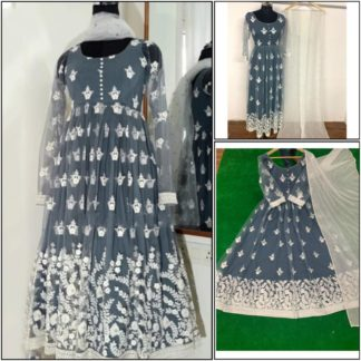 Mind-Blowing Grey Net With Chine Stitch Work Full Stitched Party Wear Gown