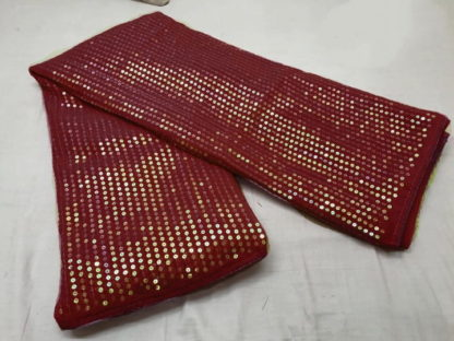 Amazing Maroon Georgette With Sequence Embroidered Work Designer Fancy Saree Online