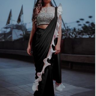 Captivating Black Silk With Ruffle & Sequence Lace Designer Fancy Saree Online