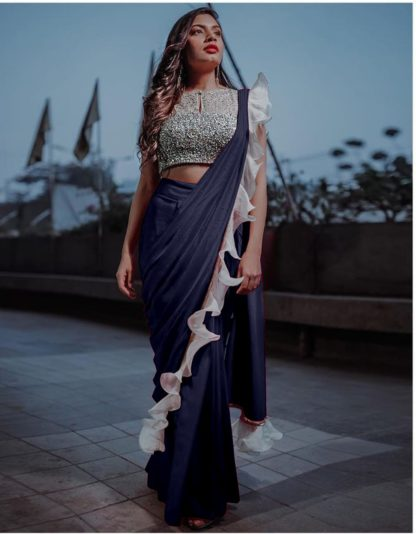 Charming Navy Blue Silk With Sequence Lace Ruffle Designer Fancy Saree Online