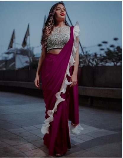Alluring Wonderful Wine Colored Silk Ruffle With Sequence Lace Designer Fancy Saree Online
