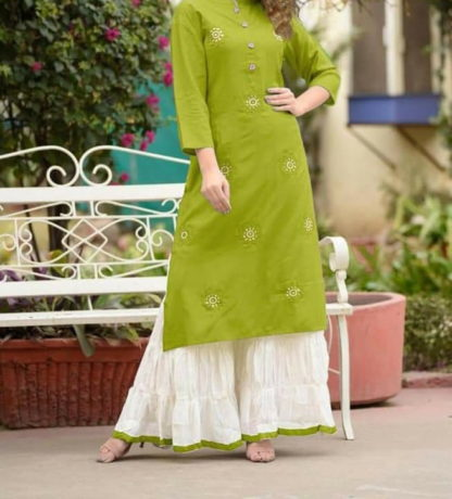 Beauteous Green Rayon With Embroidered Ready Made Plazo Kurti