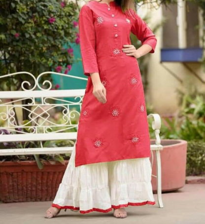Pulchritudinous Red Rayon With Embroidered Work Ready Made Plazo Kurti