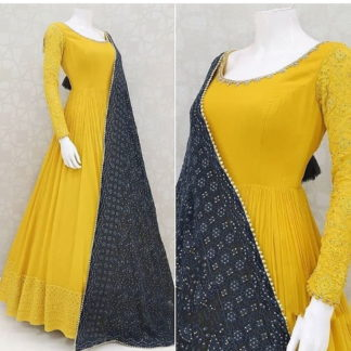 Astonishing Mustard Georgette With Embroidered Thread Work Gown