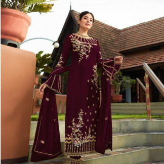 Breathtaking Maroon Georgette With Embroidered Work Plazo New Salwar suit Design Online