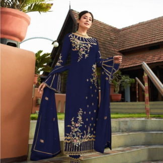 Mind-Blowing Blue Georgette With Embroidered Work Plazo New Salwar suit Design Online