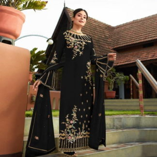 Fab Black Georgette With Embroidered Work Plazo New Salwar suit Design Online