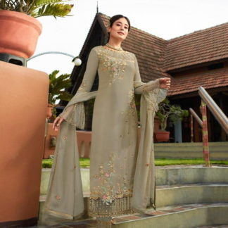 Fantastic Grey Georgette With Embroidered Work Plazo New Salwar suit Design Online