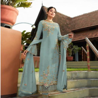 Tremendous Light Blue Georgette With Embroidered Work Plazo New Salwar suit Design Online