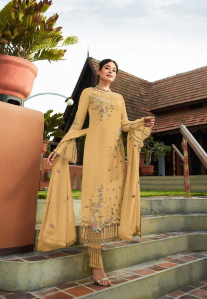 Wondrous Light Mustard Georgette With Embroidered Work Plazo New Salwar suit Design Online