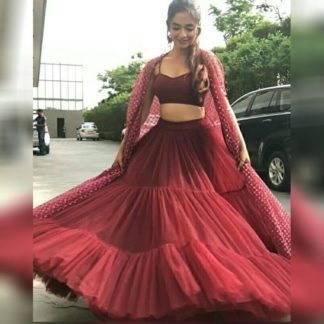 Bootylicious Maroon Net With Ruffle Embroidered Work Indo Western New Lehenga Choli Design Online