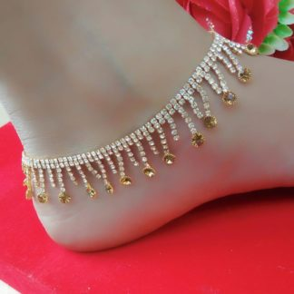 Amazing White & Yellow American Diamond Artificial Anklet Set Online