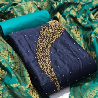 Knockout Navy Blue Cotton With Hand Work New Salwar suit Design Online