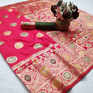 Comely Pink Soft Silk With Weaving Designer Saree Online