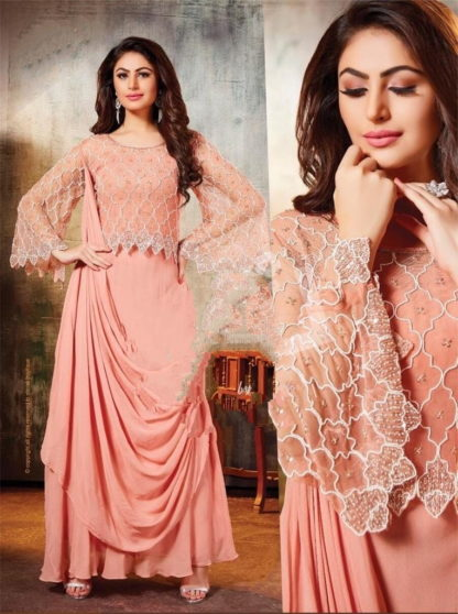 Dazzling Peach Georgette Fairy Gowns And Drape Style Attached Dupatta